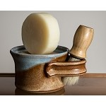 Shave Set - Light Blue with Tan Stripe